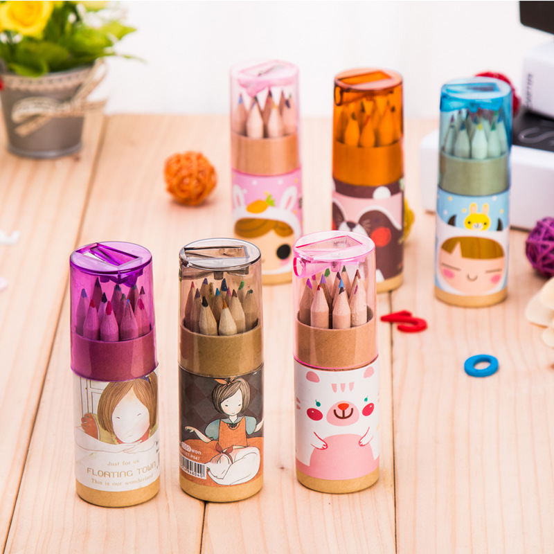 12 Drawing Colorful Small Kids Toys Wooden Pen Painting Pencil With Pencil Sharpener Kids Early Draw Educational Toys