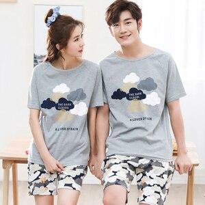 Image 3 - Cool été coton Couple Pyjamas ensemble court amoureux Pyjamas hommes et femmes vêtements de nuit Pijama loisirs maison vêtements