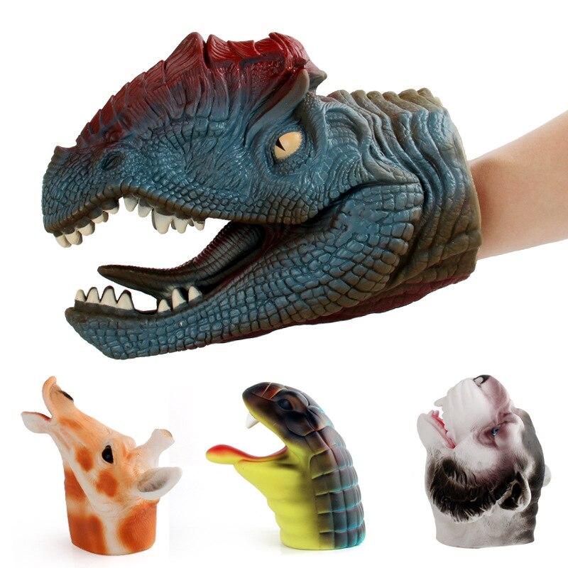 Alta Qualidade Grande Dinossauro Realista Brinquedos Fantoches de Mão de Borracha Macia Simulação Figura Perfeita Dedo Presente de Natal Brinquedos