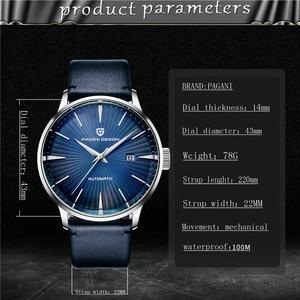 Image 5 - Часы наручные PAGANI Мужские механические, Классические роскошные автоматические деловые водонепроницаемые, с кожаным ремешком, 2020