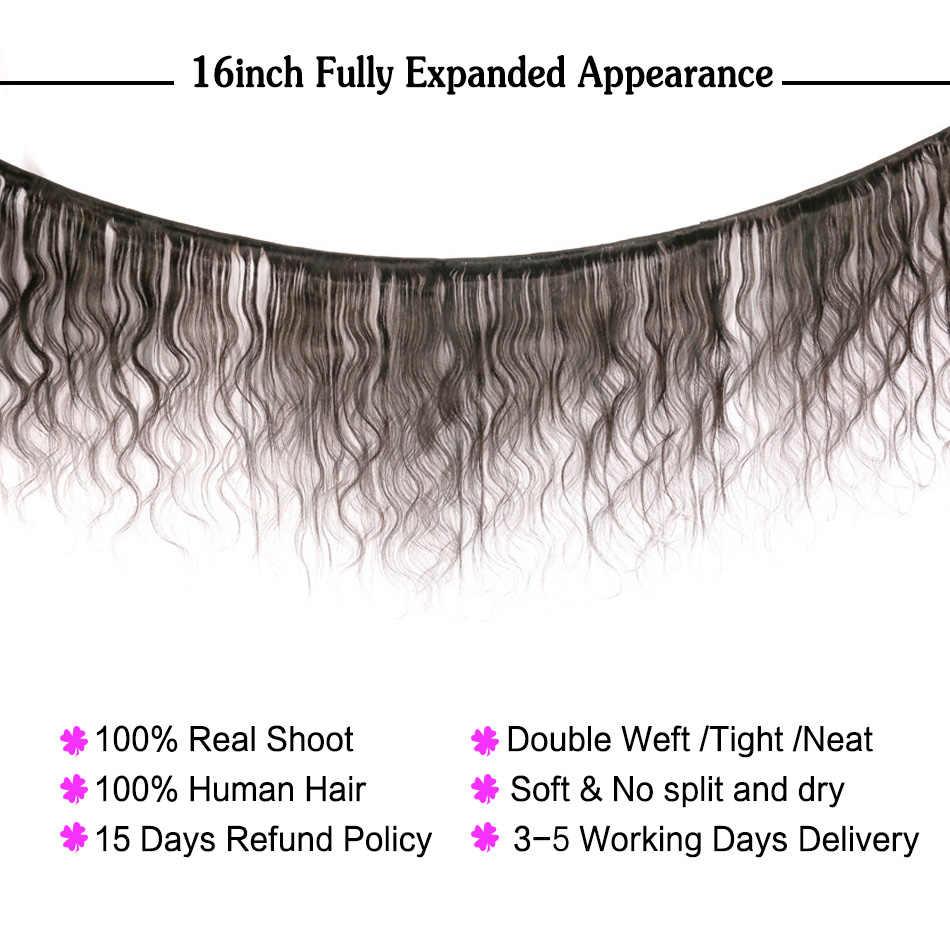 Mechones de cuerpo ondulado con mechones frontales vendedores al por mayor de cabello no Remy extensiones de cabello humano brasileño mechones con cierre de encaje NAFUN Hair