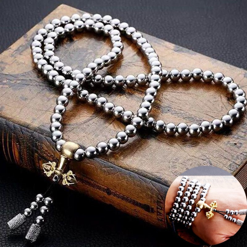 Martial Arts Self-defense Bracelet Whip Stainless Steel Necklace Chain Whip Tactical Buddha Beads Tai Chi Kung Fu Supplies
