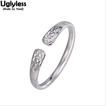 Uglyless Glossy 999 Pure Silver Lotus Flowers Bangles for Women Ethnic Floral Fashion Jewelry Handmade Embossed Open Bangles