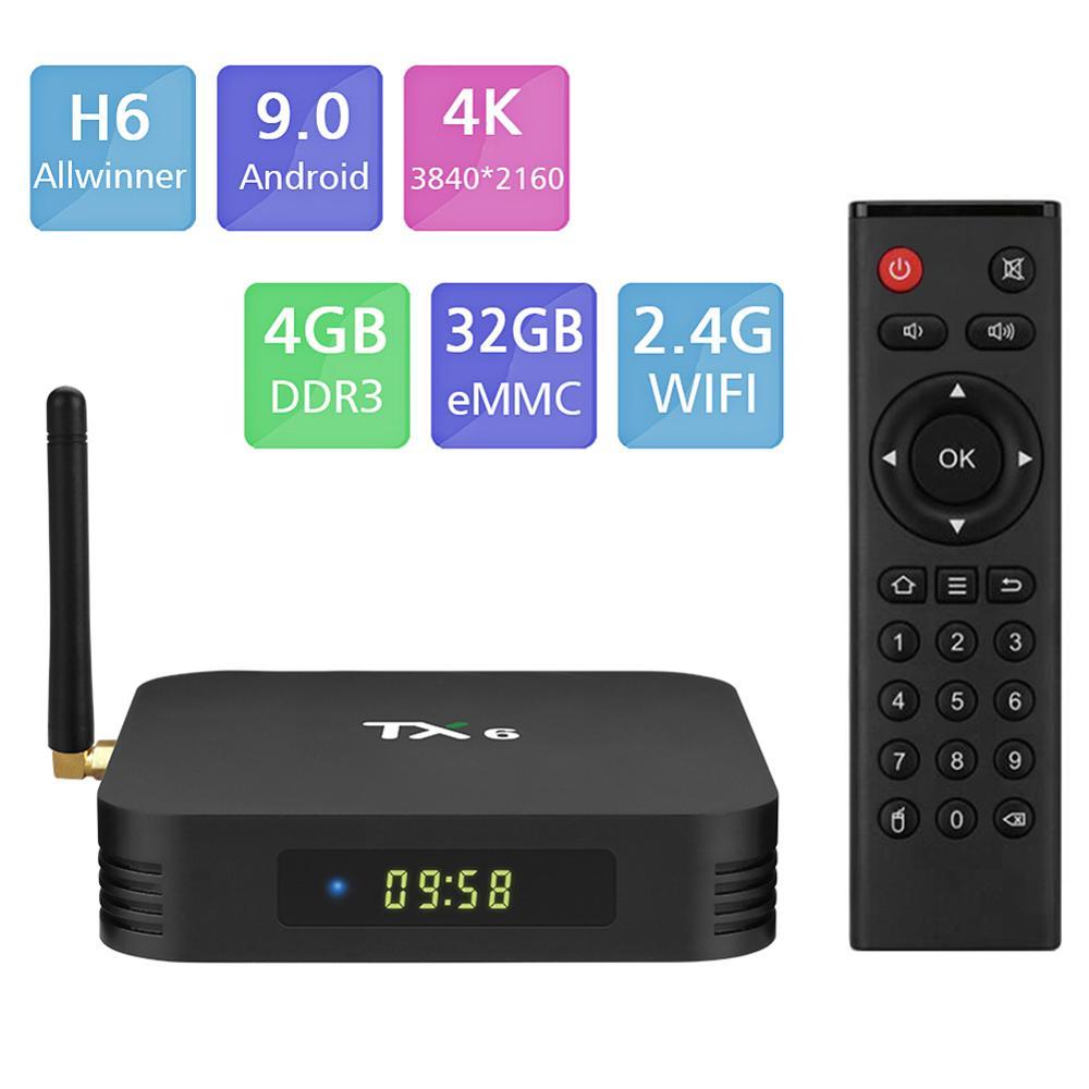 TX6 Android 9.0 Smart TV BOX Allwinner H6 Quad Core support 2.4G&5G Wireless WIFI 4G 32G Set Top Box Media player TX6MINI