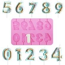 Силиконовая форма «сделай сам», 0, 9 цифр, форма для розы, свечи, торта на день рождения, леденца, печенья, шоколада, термостойкая силиконовая ф...