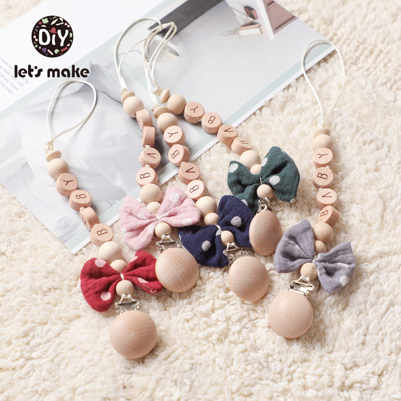 Let's Make 1PC Baby Pacifier Chain Cotton Bow Pacifier Clips Wood Nipple Holder Personalized Alphabet Beads Baby Teething Chain