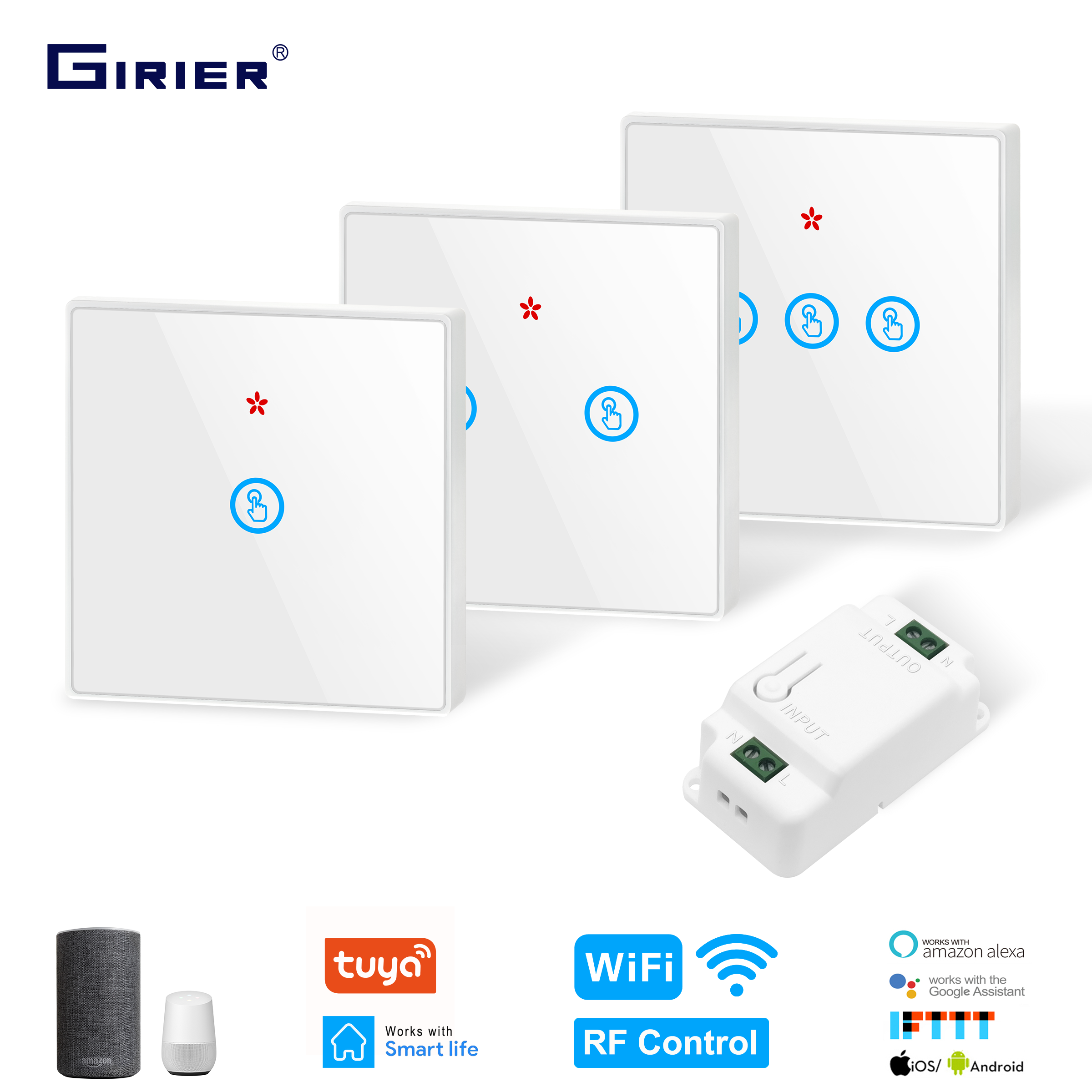 Smart DIY Wifi Light Switch 433MHz RF Touch Switch Glass Panel Tuya App Smart Home Automation Module Support Alexa Google Home