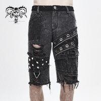 Devil Fashion Men's Punk Loose Straight Shorts Daily Casual Cotton Broken Hole Short Pants