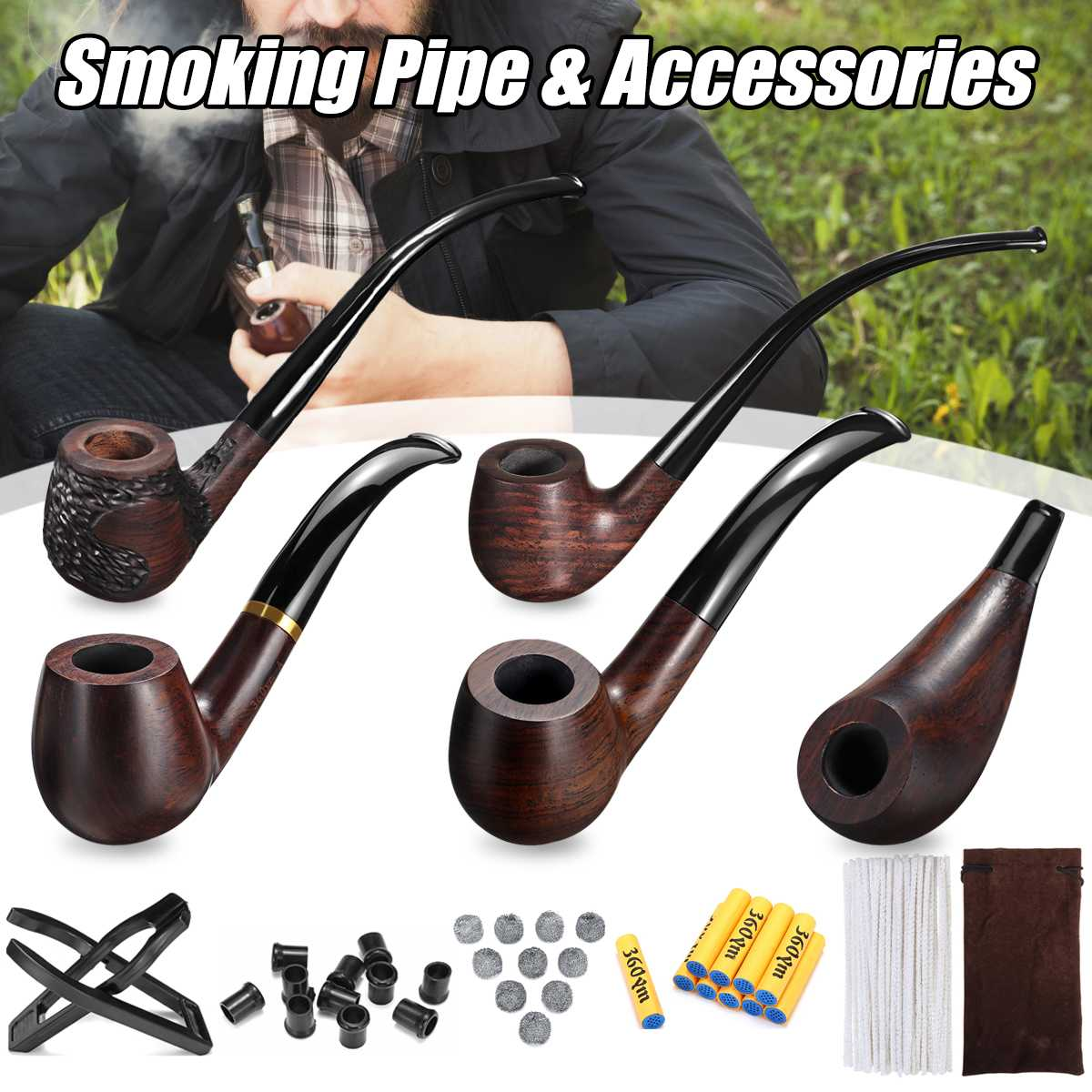 83 Pcs Durable Long Handle Wooden Tobacco Smoking Pipe + Tobacco Cigarettes Cigar Pipes Accessories For Boyfriend Father Gift