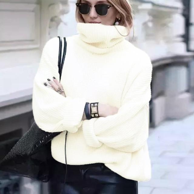 XUXI 2020 Fashion Women's Sweater Autumn Knitted Sweater Women's High Neck Long Sleeve Long Sleeve Sweater Loose FZ0414