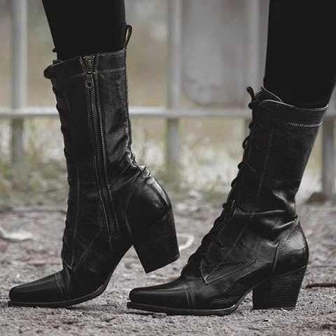Puimentiua dantel-up 2019 yeni kalite deri kadınlar için yüksek çizmeler İlkbahar sonbahar bayanlar ayakkabı kadın renk eşleştirme Bohemia patik