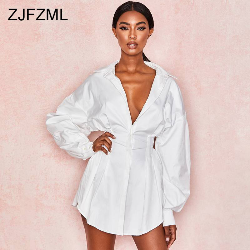 Deep V Neck Sexy Shirt Dress Women Long Sleeve Ruched Slim Short Dress Summer Dress Elegant White High Waist Mini Dress Vestido