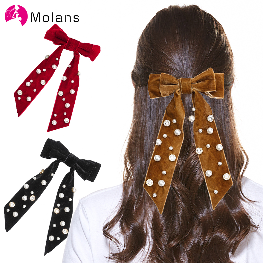 Molans Solid Velvet Bow Hairpins For Women Large Velvet Pearl Embellished Hair Bow Barrettes 21cm Clips Girl Hair Accessories