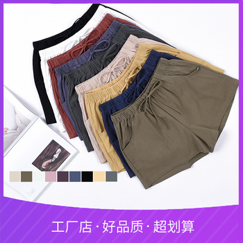 Popular Cotton Linen Shorts Womens Summer Loose High Waist Casual All-match Wide Leg Elastic Solid Pockets Drawstring