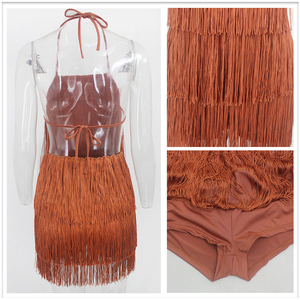 Image 5 - Thereadict Spaghetti Strap Mini Tassel Jumpsuit Halter Backless Nightclub Party Playsuit Summer Sexy Jumpsuit Women Rompers 2020