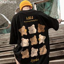 ZAZOMDE Bear Cartoon Print TShirt Men Casual Streetwear Graphic Unisex Couple Tshirts Short Sleeve Summer Hip Hop Top Tee Male