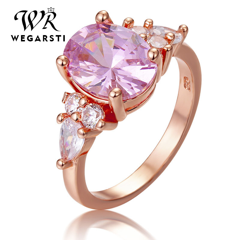 WEGARSTI Elegant Bands Ring 925 Sterling Silver Jewellery AAA Rose Pink Cubic Zirconia Wedding Band Jewelry Gifts Drop Shipping