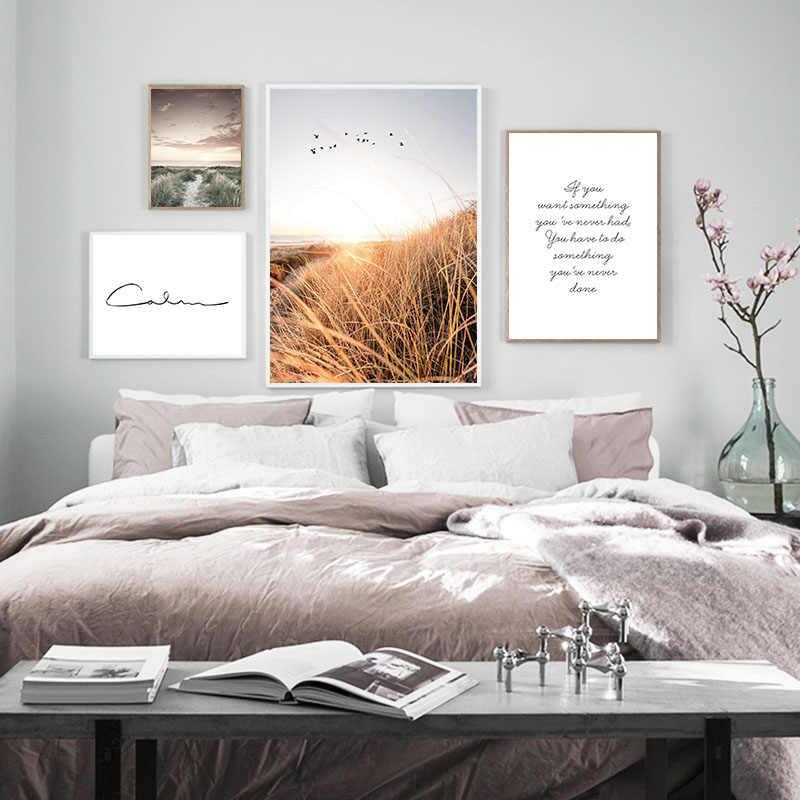 Unframed Sân Cỏ Hoàng Hôn Vải Bắc Âu Poster Thiên Nhiên Treo Tường Nghệ Thuật In Tranh Phong Cảnh Trang Trí Hình Trang Trí Nhà Cửa