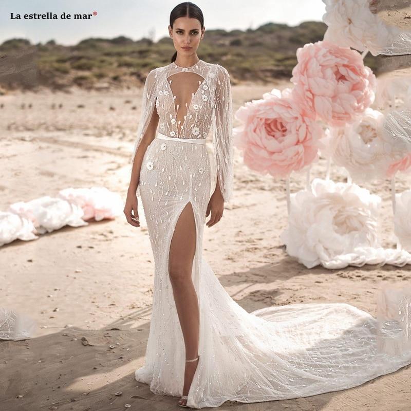 Vestiti Da Sposa Wedding.With Wrap Lace 3d Floral Applique Beads Beach Mermaid Wedding