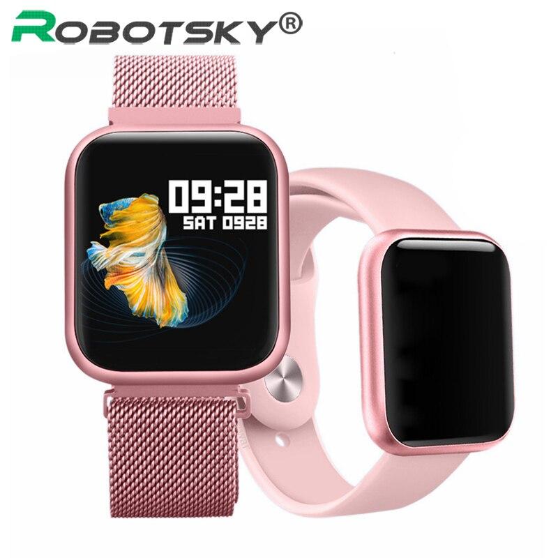 P80 IP68 relógio Inteligente Pulseira Esportes Da Forma Das Mulheres À Prova D' Água Full Touch de Freqüência Cardíaca de Fitness Rastreador Smartwatch Men P68 P70 Pro
