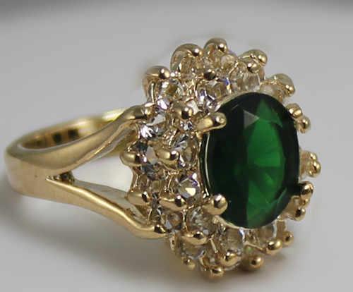 Rooo43 Lady สีเขียวหยก 18KGP ชุบ Elegant แหวน 5.29