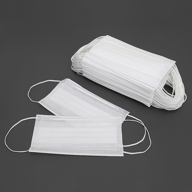 30/50/100pcs Disposable Face Mask In Stock Fast shipping white Non Woven Disposable Anti-Dust Masks Face Mouth Masks 2
