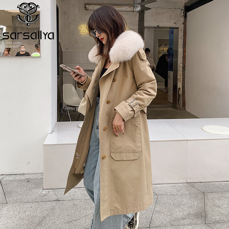 2019 Winter Long Trench Coat Women Real Fur Parka Warm Thick Ladies Natural Fur Parkas Casual Slim Trenchcoat Femme New Arrival