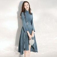 Retro Blue Long Sleeved Evening Dress Long Women Dress Evening Party Evening Gowns for Women Special Occasion Dresses Formal