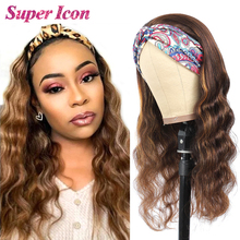 Highlight Headband Wig Human-Hair Body-Wave Colored Wigs Glueless Full-Machine 100%Remy-Hair