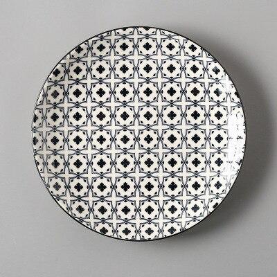 Креативный японский стиль 8 керамическая тарелка дюймовая посуда для завтрака говядины десертное блюдо для закусок простое мелкое блюдо домашнее блюдо для стейков - Цвет: 16