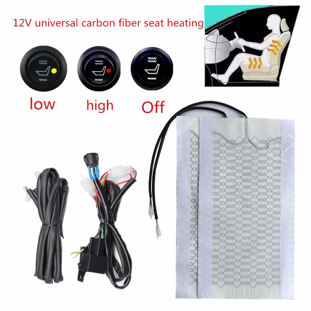 Universal 12V <font><b>2</b></font> Pads Carbon Fiber Heated Seat Heater heating <font><b>12</b></font> V Pads <font><b>2</b></font> <font><b>5</b></font> 6 Level Switch Winter Warmer Seat Covers image
