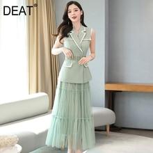 DEAT 2020 Turn-down Collar Sleeveless Contrast Colors Waist Belt Mesh Patchwork Suit Dress
