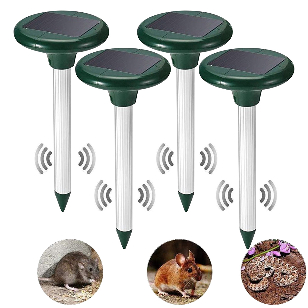 Outdoor Ultrasonic Pest Repeller 4P Solar Powered Ultrasonic Mouse Mole Pest Rodent Mosquito Repellent Yard Garden Mole Repeller