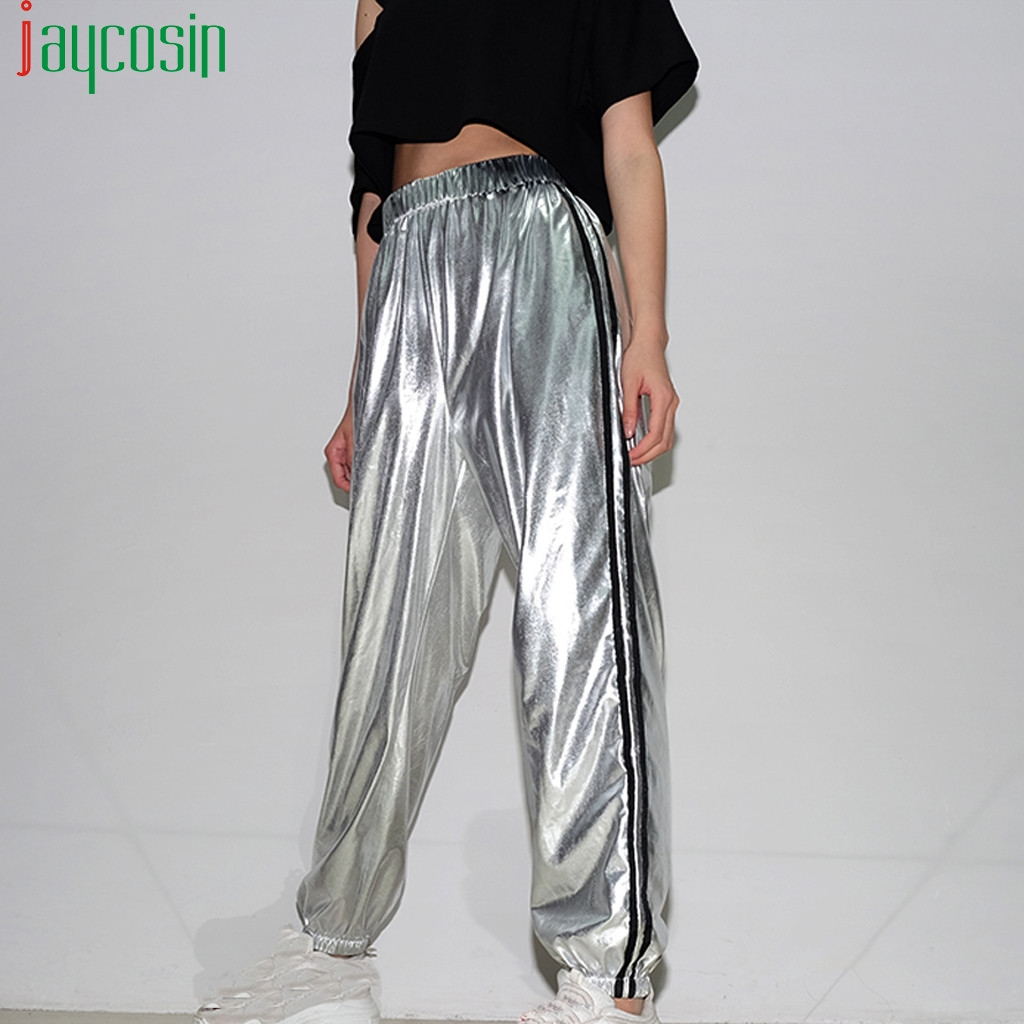 Women Trousers Casual Hip Hop Stretch Leather Metal Silver High Waist Sports Trousers Plus Size Pants Ladies Loose Trousers