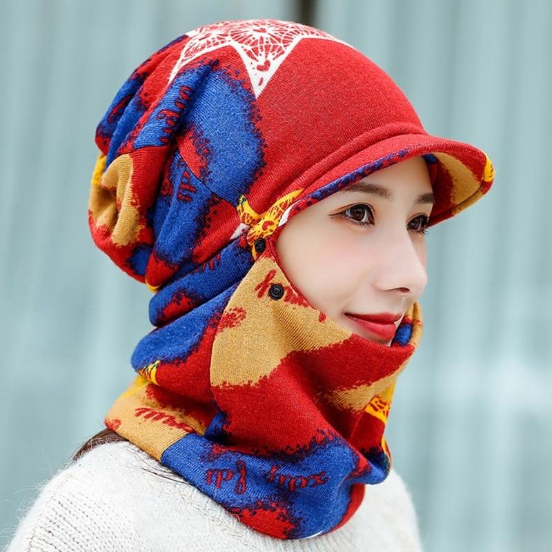 Spor ve Eğlence'ten Bisiklet Yüz Maskesi'de Yeni şapka eşarp kadın erkek küçük brim şapka boyun isıtıcı şapkalar kış soğuk hava renkli yumuşak elastik rüzgar geçirmez title=