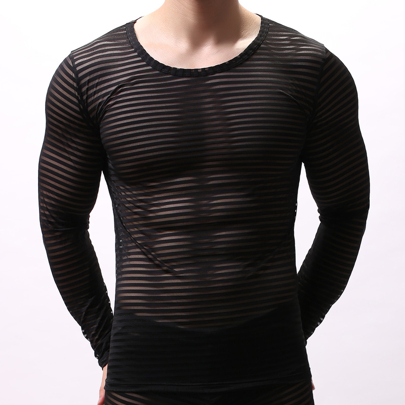 Men Undershirts Long Sleeve Mesh Striped See Through T-shirts Breathable Sexy Gay Underwear Muscle Fitness Male Tops Tee