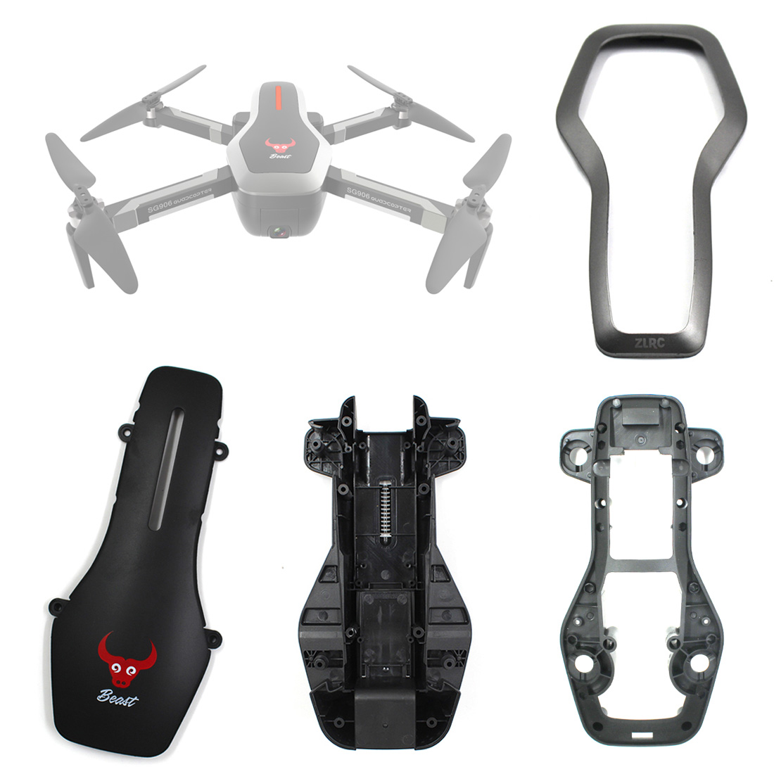 HOBBYINRC Outer Cover Kit With Top Shell Upper Cover Buttom Cover Frame For SG906 GPS Brushless Folding Drone