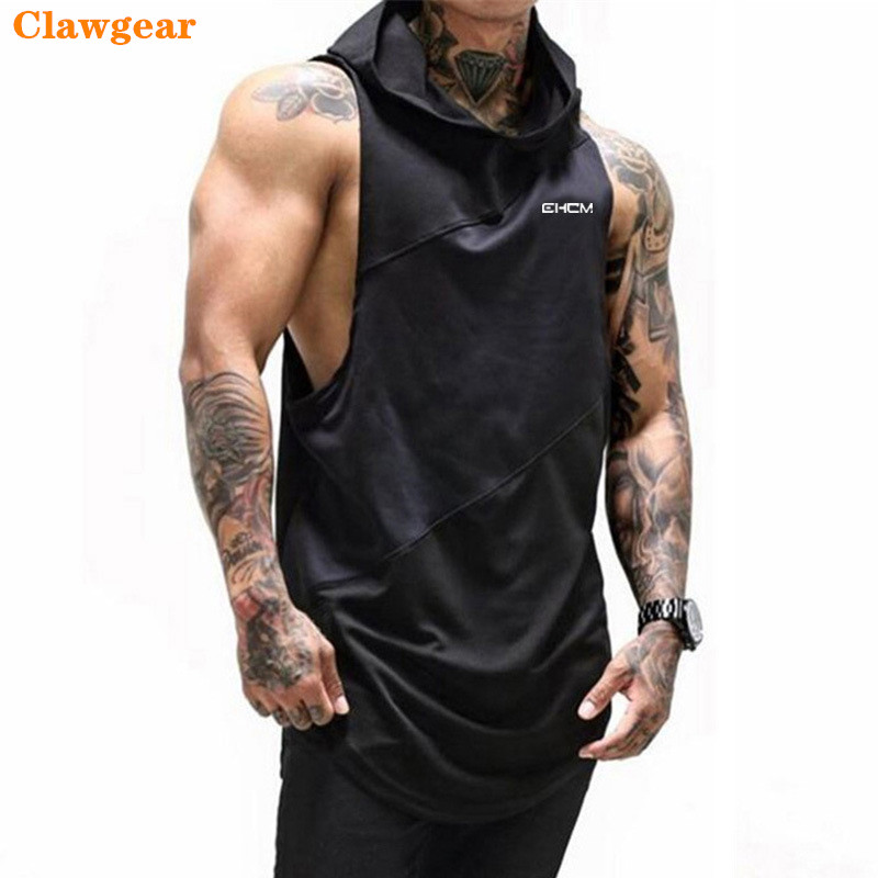 2019 New Clawgear Bodybuilding Stringer   Tank     Top   with hooded Mens Gyms Clothing Fitness Mens Sleeveless Vests Cotton Singlets