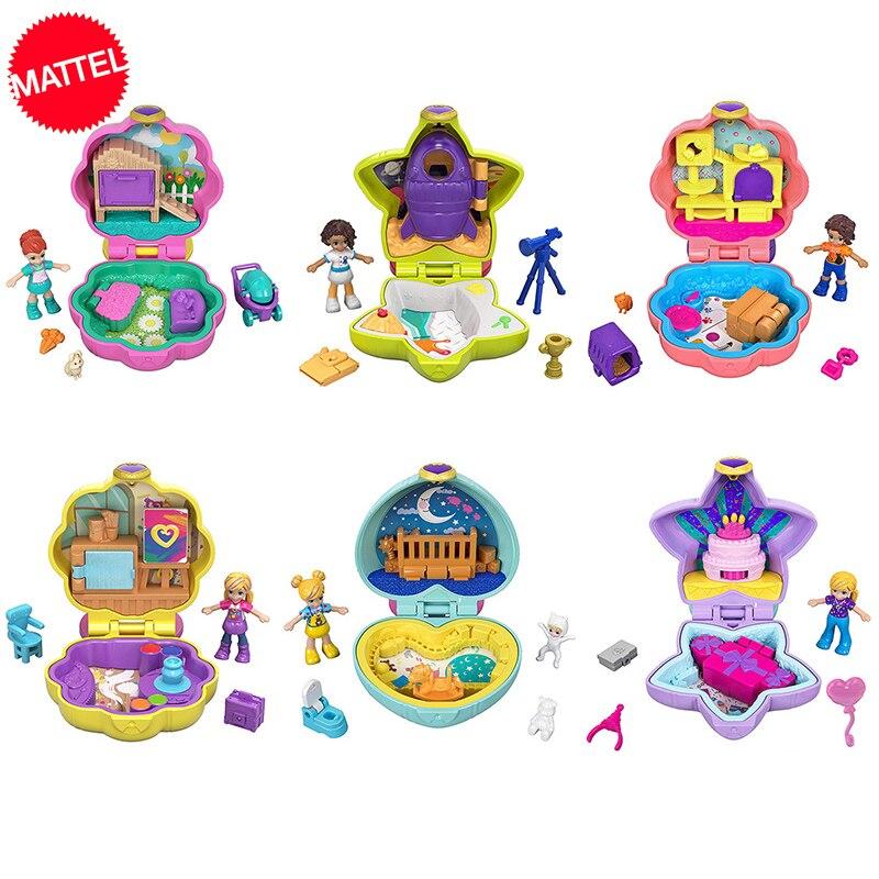 Original polly pocket mini brinquedos caixa mundo com acessórios casas de bonecas brinquedos para meninas reborn juguetes mini boneca casa em miniatura