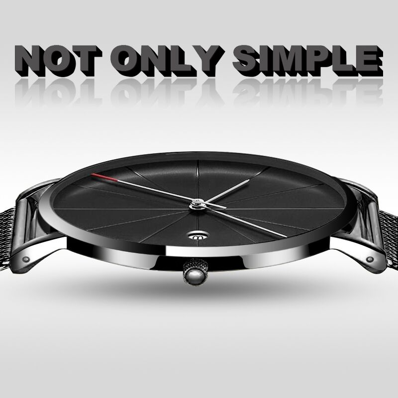 Mens Watches Calendar Date Masculino Relogio Stainless Steel Simple Watch Sports Leisure Quartz Wristwatch Male Brief Saati Hour