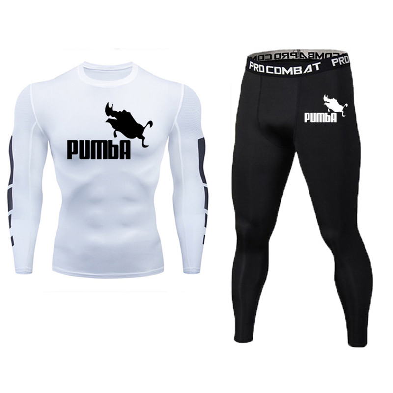 Brand Men's Sportswear Compression Long Sleeve + Trousers Set Quick-drying Running T-shirt Clothing Sports Jogging Pants