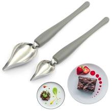 2 pçs chef valon molho chapeamento arte lápis desenhar design bocal de cozinha portátil molho pintura lápis colher sobremesa decoração txtb1
