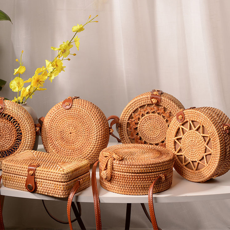 Woven Rattan Bag Round Straw Shoulder Bag Small Beach HandBags Rectangle Women Summer Hollow Handmade Messenger Crossbody Bags