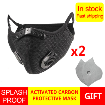 2PCS Running Cycling Face Mask with 5 Layers Activated Carbon Filter Mask PM 2.5 Anti-Pollution Anti Dust Face Mouth Mask