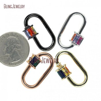 Baguette Lock Rose Gold Silver Gun black  Pave Oval Shape Screw Clasp Lock Carabiner Pave Lock 18x29mm FC29498