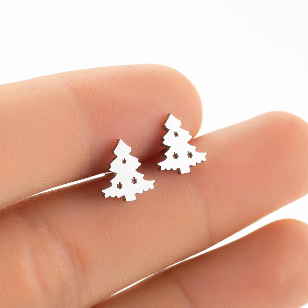 Bohemia Earrings Women Kids Fashion Stainless Steel Leaf Pineapple Flower Christmas tree Stud Earings  Jewelry pendientes