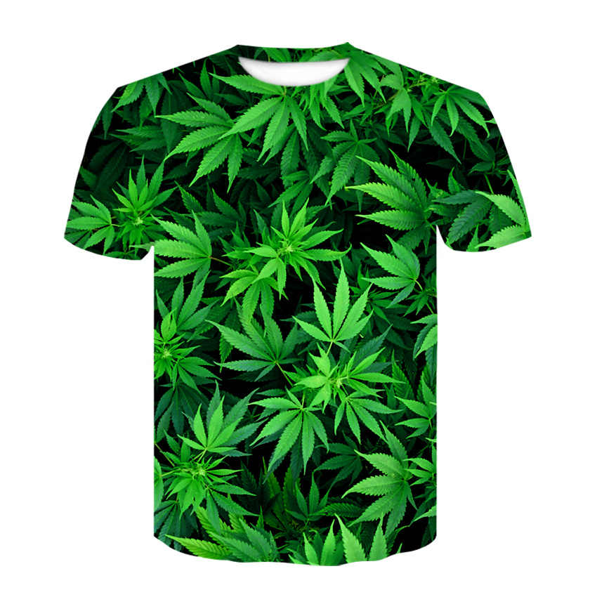 Interessante naturale erbaccia fresco fresco verde weed lascia pieno stampa 3D T-Shirt cool T-Shirt camicetta delle donne degli uomini di estate del pendente