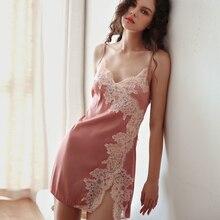 Womens Summer Night Dress Sexy Female Nightgown Temptation Home Wear Sleepwear Nightwear Silk Satin Nighty Ladies Lingerie