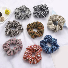 Korean Sweet Net Plaid Elastic Hair Bands Scrunchies Hair Rope Ties For Girls Women Ponytail Holder Hair Accessories Hair Rings(China)