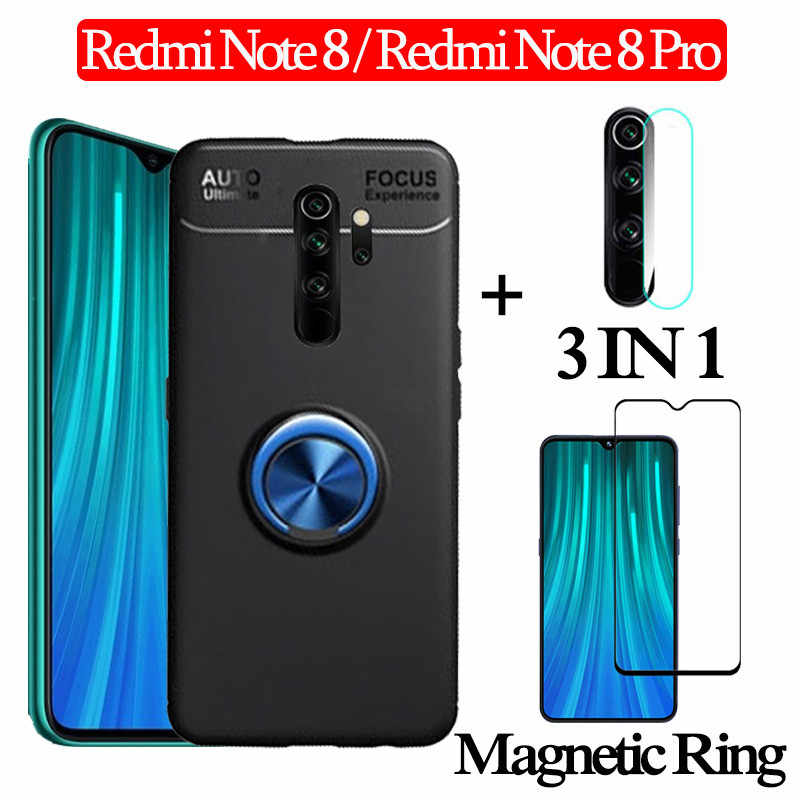 3-in-1 Glass + Magnetic Silicone Case Redmi-Note-8-Pro Soft phone Case redmi note8pro Full Cover redmi note 8 magnetic ring Case